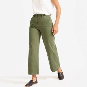 Everlane wide leg crop pants high rise green 4